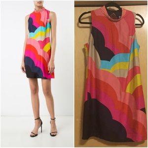 TRINA TURK RAINBOW EMBELLISHED NECK SHIFT DRESS